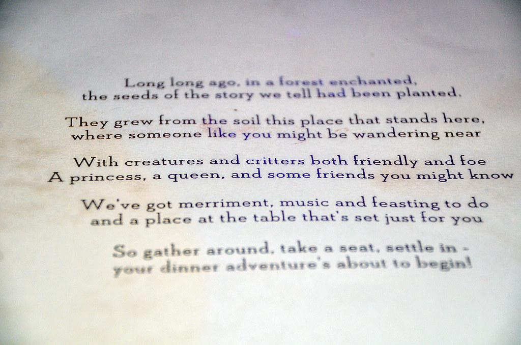 Storybook Dining Artist Point menu