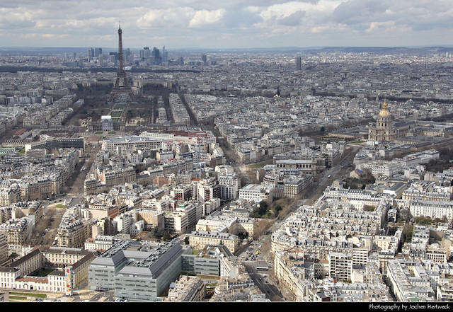 Looking west from the observation deck of Tour Montparnasse, Paris, France