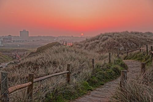 path boardwalk fences planks grass sand sun dawn daybreak sunrise sunset red green hazy footpath dunes