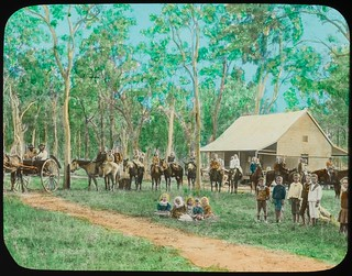 Central Queensland school children outside the schoolhouse, Queensland, ca. 1910