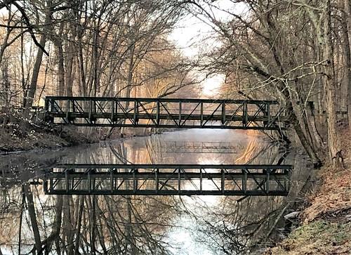 newjersey nature princeton sunrise canal raritandelawarecanal bridge