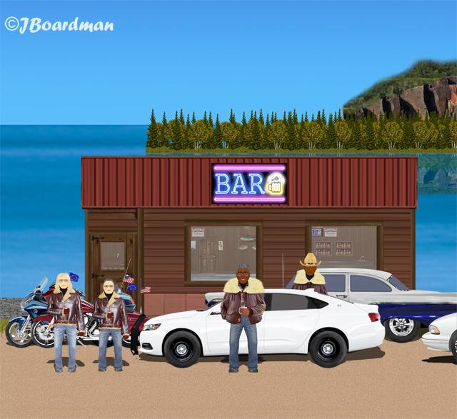 Hank Meadows arrested Outside the Lakeview Cafe ©Jack Boardman