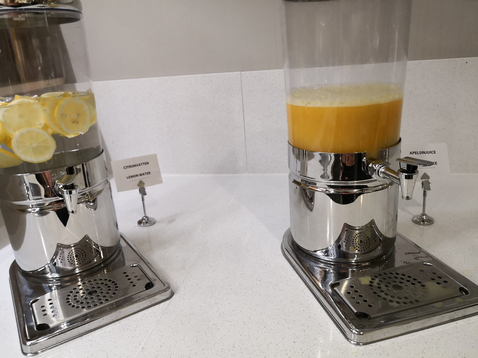 Juice and lemon water