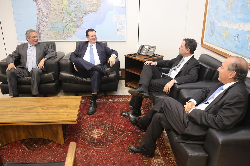 11/12/2018. Brasília-DF. Ministro Gilberto Kassab durante reunião com o vice-presidente do BID, Alexandre Rosa, e o representante do BID no Brasil, Hugo Flores. Foto: Bruno Peres/MCTIC.