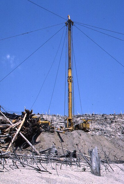 1982. Mount St. Helens post-eruption timber salvage operation. Mount St. Helens, Washington.