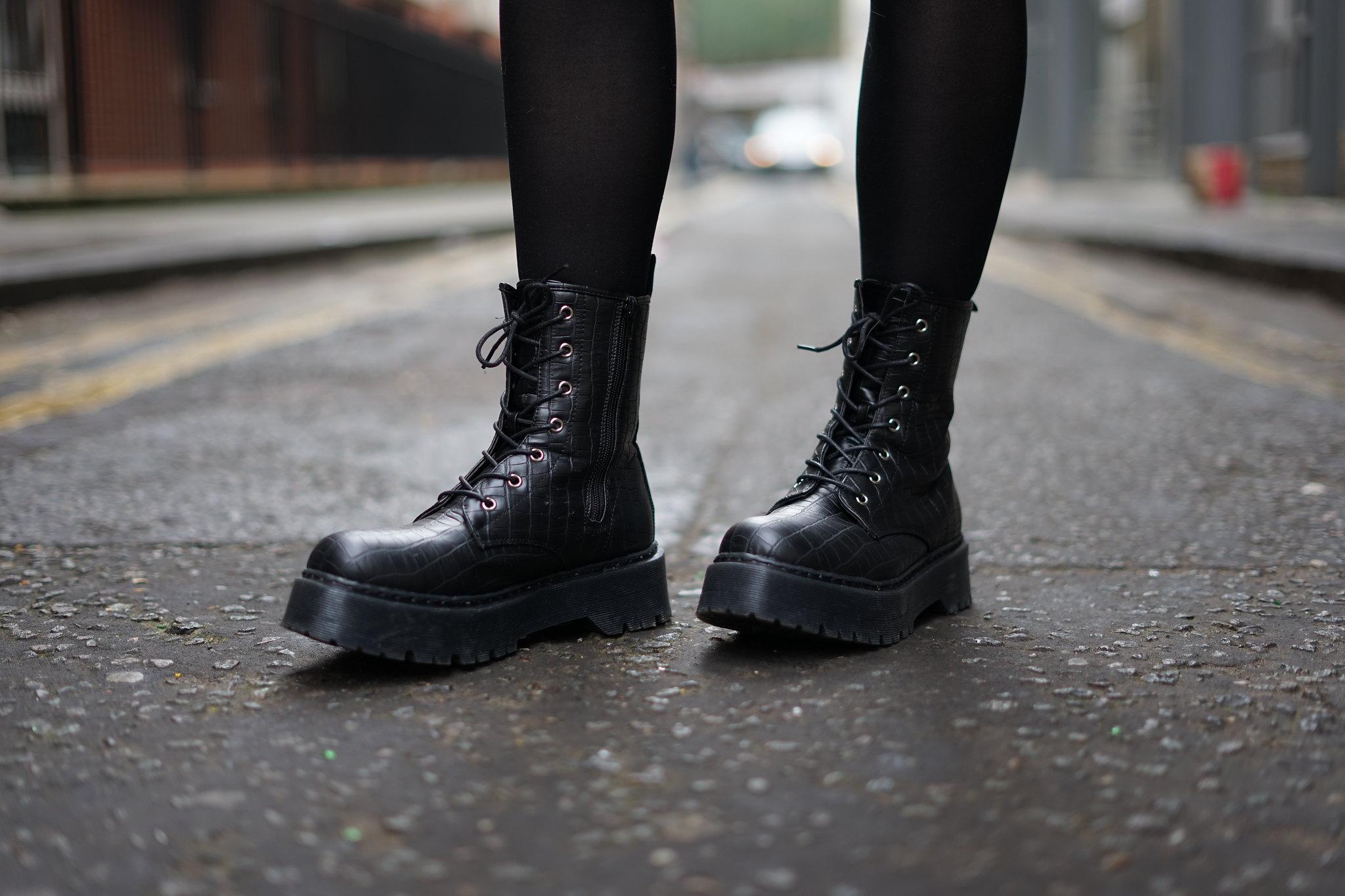 Platform Croc Boots and a Faux Fur Coat