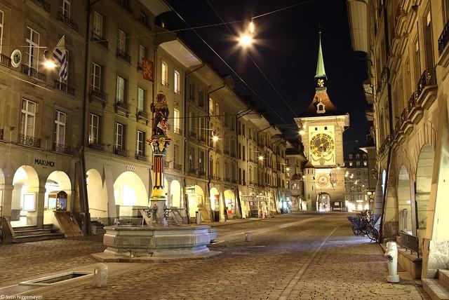 Zähringerbrunnen und Zytgloggeturm in Bern am 18.02.19