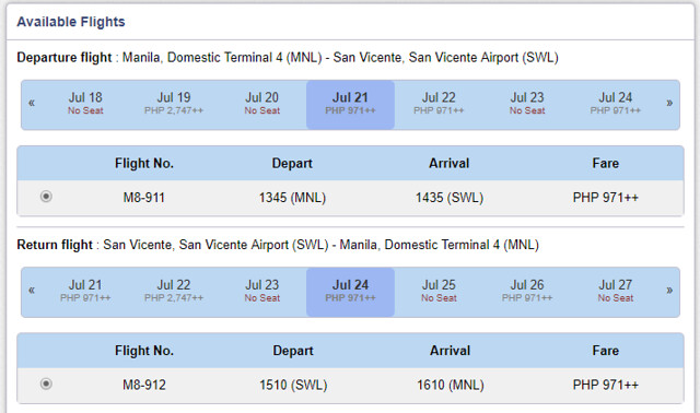 Skyjet Airlines Manila to San Vicente Roundtrip