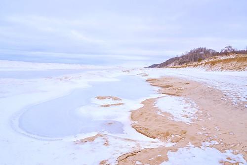 lake lakeshore lakemichigan beach ice iceberg winter snow dunes