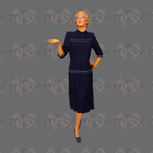 1940s Navy Blue Crepe Dress with Button Back, Collar and Ric Rac Trim, Illusion Drop Waist, 3/4 Sleeves