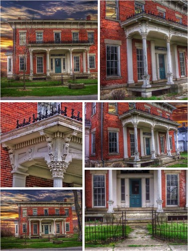 milan thomaedison inventor downtown huroncounty abandon abandonment italianate architecture style nrhp district onasill canal town mansion heritage attraction site historic ohio oh collage usa america sky clouds sunset thomas edison