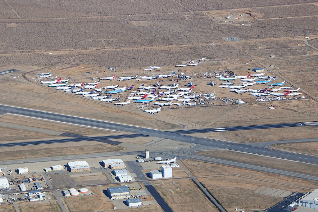 Aerial view over the Mojave Air and Space Port Mojave Kern