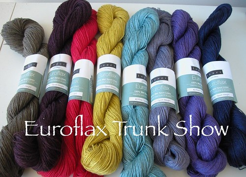 Sue2Knits will have the Euroflax Trunk Show from mid-April! More details soon!