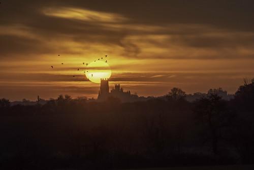 cambridgeshire eastanglia ely england europe european uk dawn daybreak old sunrise