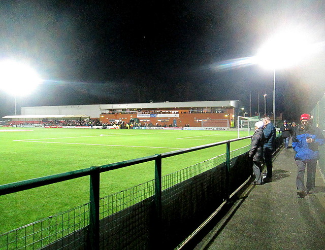 Main Stand from Southwest, Park Hall Stadium, Oswestry