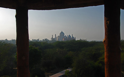 View of the Taj Mahal from the far side of Agra, India