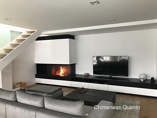 Chimenea Quento con Kal Fire Heat Pure 90 Corner.