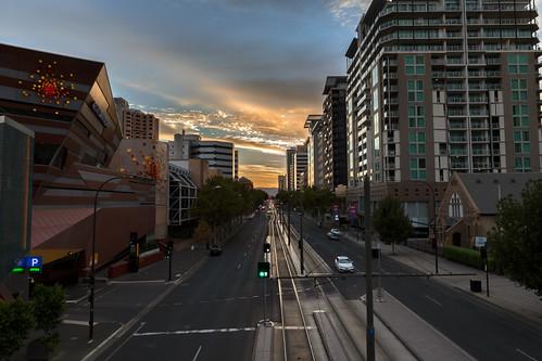 adelaide cbd citycentre southaustralia summer dawn sunrise northterrace tramlines