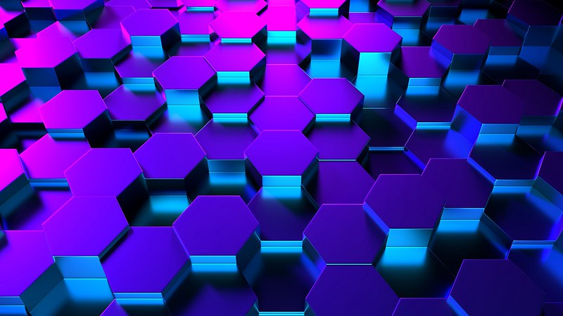 Обои шестиугольники, форма, рендеринг, подсветка картинки на рабочий стол, фото скачать бесплатно