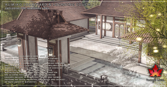Trompe Loeil - Kumiko Courtyard and Lounging Couches for FaMESHed April
