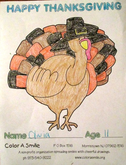 Olivia's colored picture of a turkey