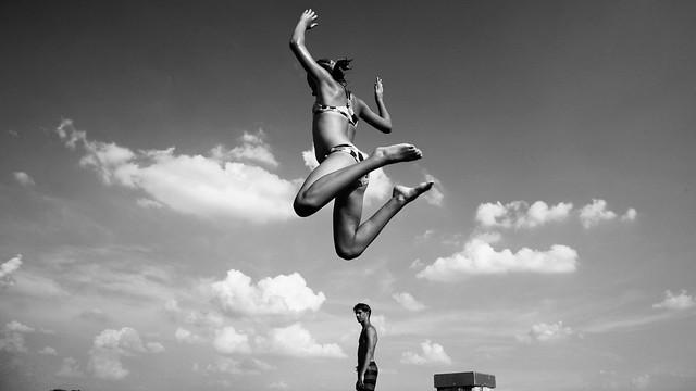Joy of life 1 - jump into the lake - monochrome