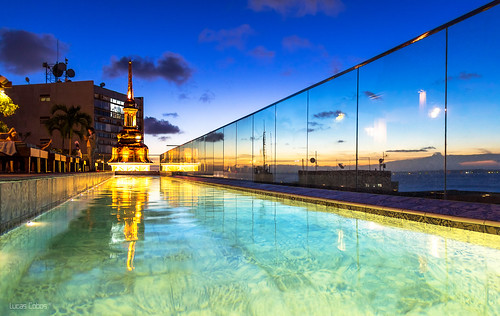 pool blue tower sunset water