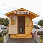 Fasssauna zur Ausstellung beim 10 Jährigen Jubiläum von Muldental Alpakas