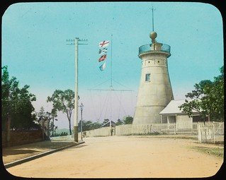Flags flying at the Windmill Tower, Brisbane, Queensland, ca. 1910