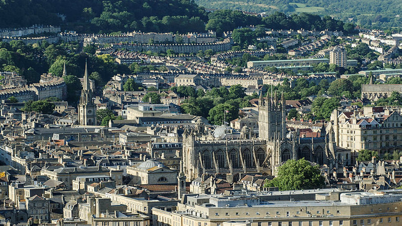 An image of the city of Bath showing church spires
