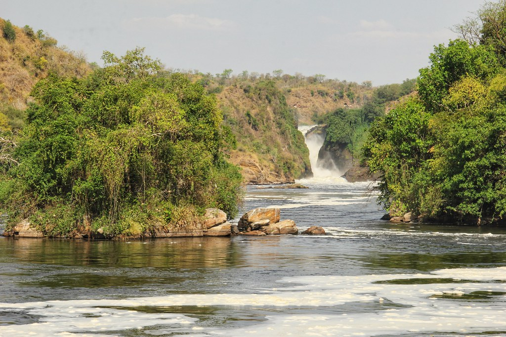 Approaching the base of Murchison Falls by boat, Uganda