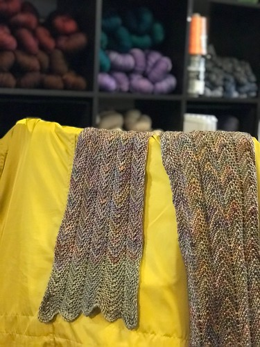 Marilyn finished her ZickZack Scarf that she knit using 2 colours of Malabrigo Sock!