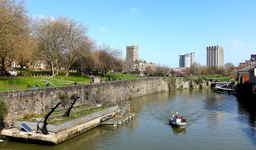 bristol water waterway boat boating bridge church derelict old walls city boundary park blue sky clouds sun sunshine spring buildings tree trees pontoon home outside outdoors nature green light landscape people river
