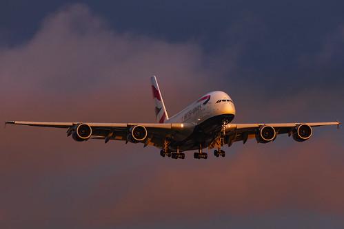 ba british airways gxlel airbus a380800 a380 london heathrow landing sunrise canon 5d iv 09l 300mm