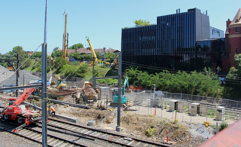 South Yarra - Metro tunnel works January 2019, looking SW