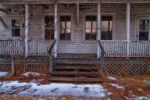 rural decay abandoned empty farmhouse porch sunset windows cold winter snow ice steps front door reflection sad newjersey delawarewatergap national recreationarea longexposure house building wooden siding peelingpaint weathered