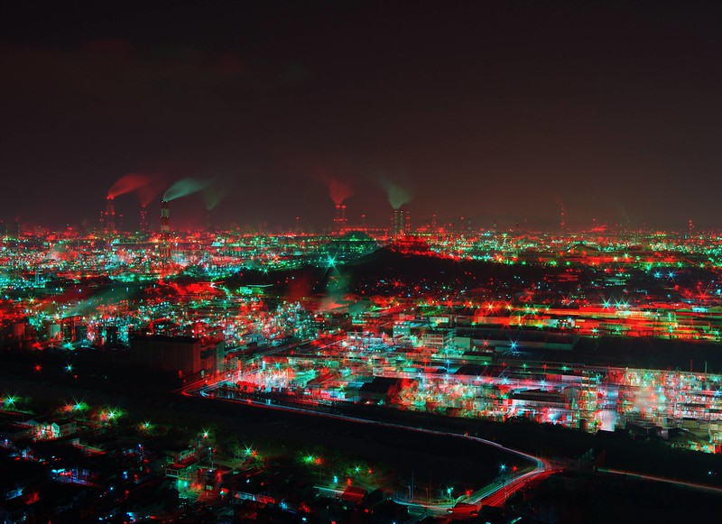 Night view of Mizushima Industrial Area, anaglyph