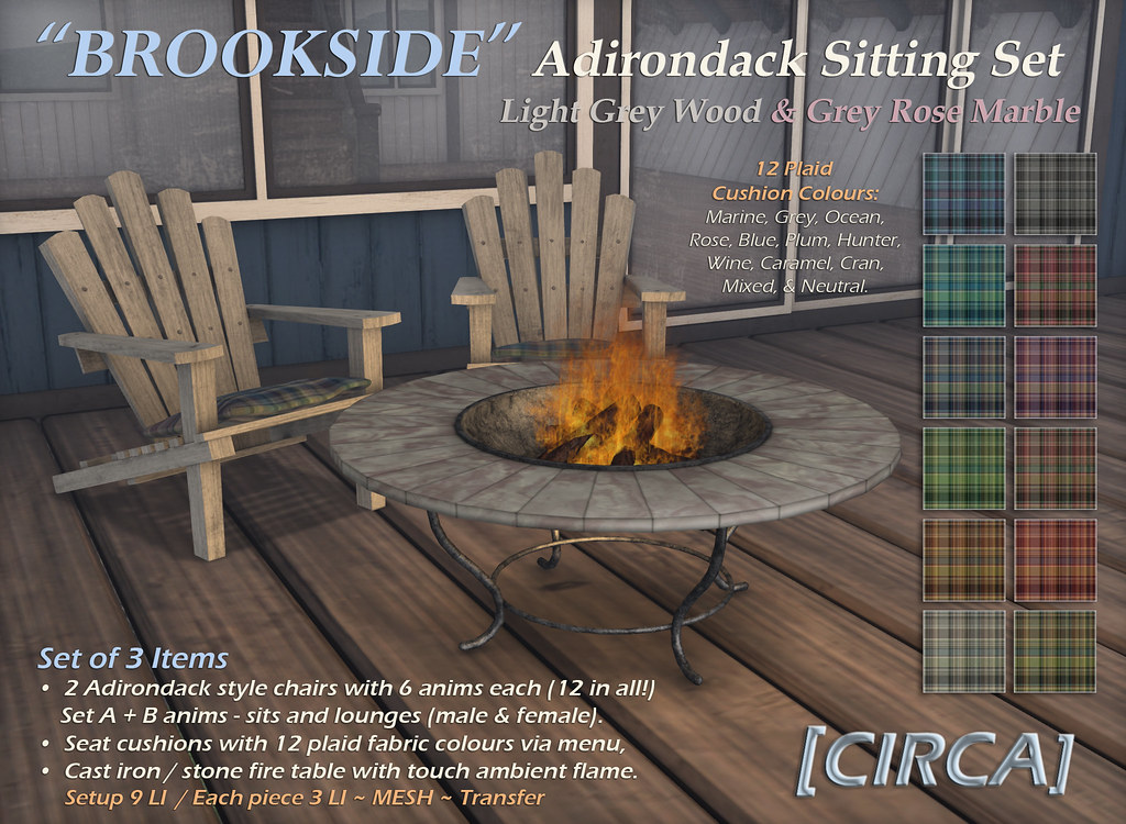 "For Syndicate Sunday | [CIRCA] – ""Brookside"" Adirondack Sitting Set – Lt Grey Wood & Grey Rose Marble"