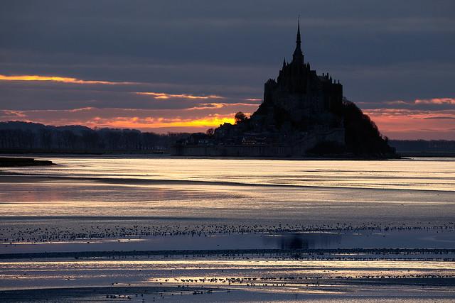 Winter sunset at Mont Saint Michel