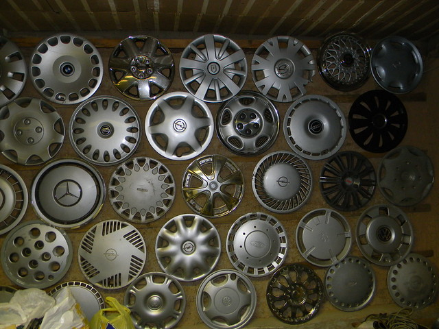 Hubcaps on wall