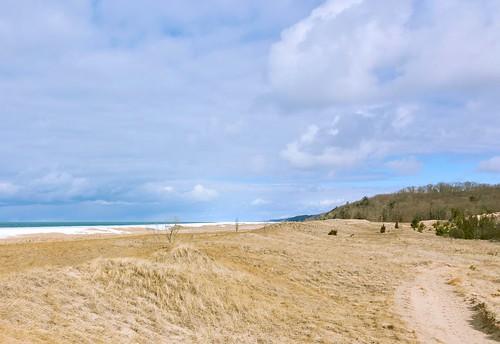 winter lake lakeshore lakemichigan beach beachgrass clouds stormyweather ice dunes