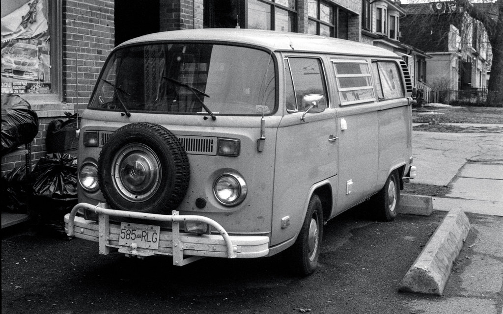 VW Bus with Front Spare Tire