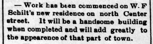 1896 - Schilt builds house on N Center - Enquirer - 16 May 1896 | by historic.bremen