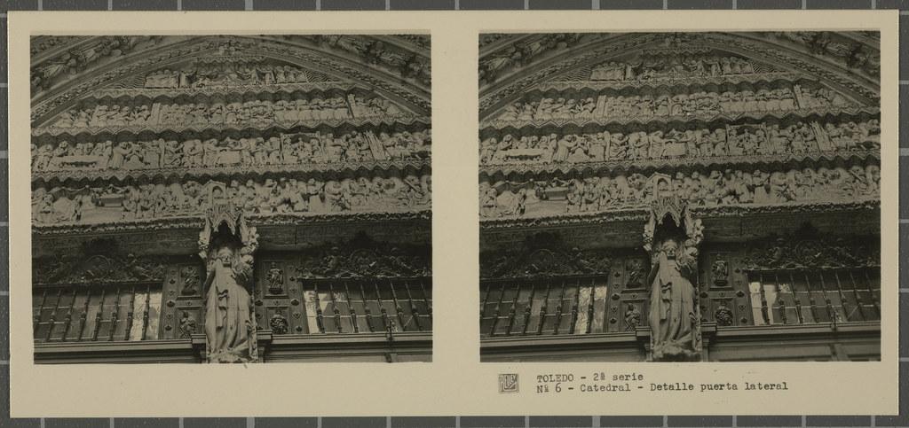 Decoración de una de las Puertas de la fachada de la Catedral. Colección de fotografía estereoscópica Rellev © Ajuntament de Girona / Col·lecció Museu del Cinema - Tomàs Mallol