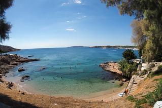Greece beach in fisheye