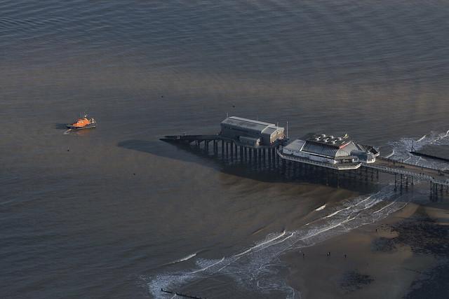 Cromer Lifeboat off Cromer Pier - Norfolk aerial image