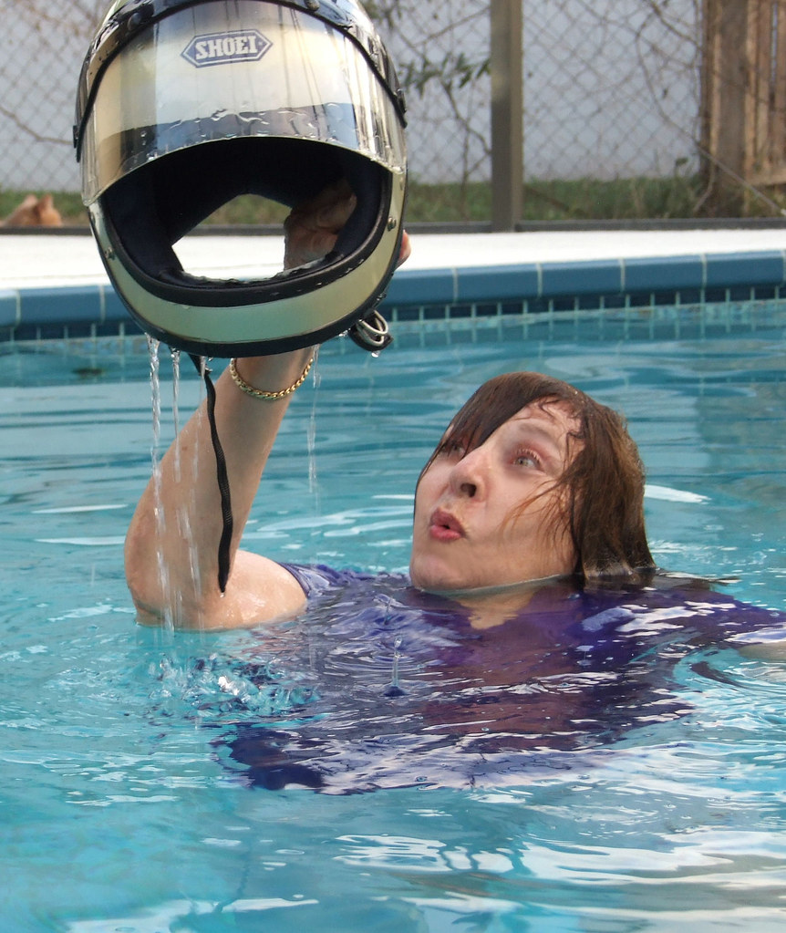 Helmet swim fun | Val enjoying swimming, and having ...