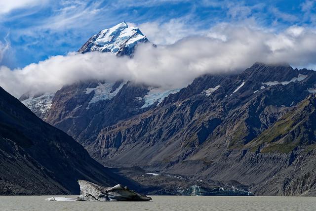Glaciers flowing from Aoraki/Mt Cook