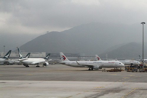 Cathay Pacific and China Eastern jets on the tarmac at Hong Kong International Airport