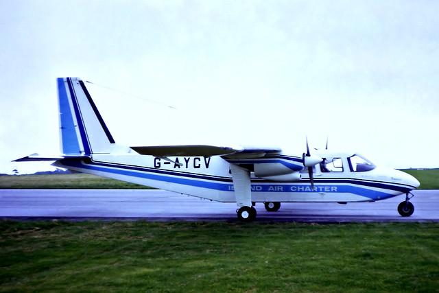 G-AYCV   Britten-Norman BN-2A-26 Islander [0170] (Island Air Charters) RAF St Mawgan / Newquay~G 19/09/1970